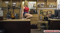 Big tits blonde woman nailed by pawn man in his office