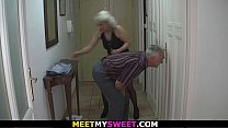 s.'s blonde girlfriend is used by horny old couple