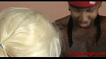 Blonde slut double penetrated by throbbing black cocks preview image