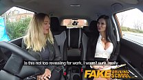 Fake Driving School lesbian sex with hot Australian babe and busty milf preview image