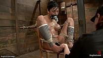 Hogtied big tits slut anal toyed