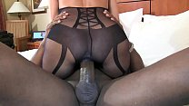 bbc stretch out pussy cowgirl style super sexy brunette wife in black lingerie thumbnail