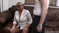 Chubby woman at work spreads legs for big cock