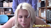 Chanel is placed on desk by officer who drills her hard and deep