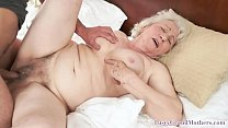 Hairy granny plowed after spreading her legs Image