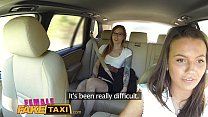 Female Fake Taxi Horny filthy lesbians lick shaved wet pussy in taxi