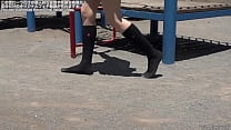 Socks Fetish A Woman Walking In A Sandbox With