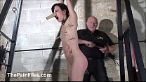 Cruel whipping of slave Elise Graves in dungeon...
