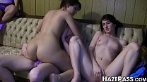 College babes go wild in strapon riding dyke orgy