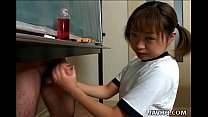Japanese cutie Itsuki Wakana wanks a hard dick uncensored