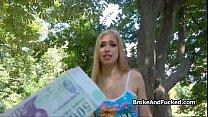 Blonde loves cock in public park thumbnail