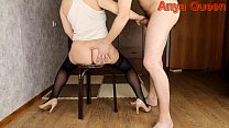 FEMALE STUDENT IN A SHORT T-SHIRT, STOCKINGS AND HEELS HANDJOB - ANYA QUEEN