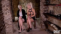 Dominatrix Blanche Bradburry ass fisting blonde submissive Brittany Bardot