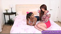 Katalina Mills and Amber Chase make out in the bedroom