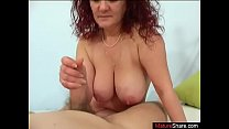 Curly haired mature shakes tits when sucking cock deep