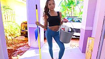 Hot asian teen maid comes for some cleaning