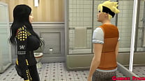 Familia Pervertida Cap 6 Naruto y su madre hinata e hermana hanabi queda atrapados en el baño terminan montandose un trio con su madre y hermana