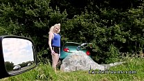 Busty blonde teen bangs stranger outdoor preview image