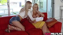 Busty MILF Katy loves licking pussy with Bella