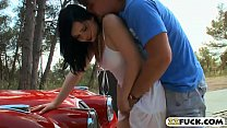 Sultry babe Angell Summers gets her ass ripped outdoors