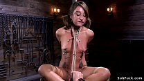 Young petite beauty toyed in hogtie