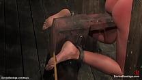 Lesbians tormented on device bondage