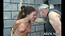 Hottie gets guy to roughly stimulate her pussy in bondage xxx
