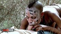 Image: Petite Tribal Babe Bianka Blacka Banging White Cock In The Woods