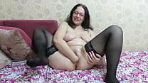 Wide bottle and deep vaginal fisting Busty milf masturbates shaved pussy to orgasm Homemade fetish