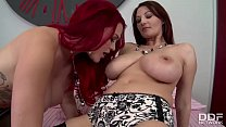 Busty Lesbian Babes Experience Double Dildo for...