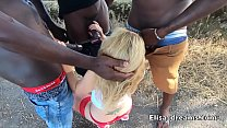 Hotwife gets fucked in her ass by 3 BBC outdoors