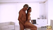 OLD4K. Slender girl Liliane enjoys sex with old gentleman who is her boss