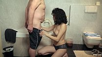 12492 Old grandpa fucks innocent teen in bathroom and cums in her mouth preview