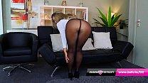 Office girl Ashlyn Shaw in heels and nylons