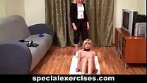 Naked training for blonde babe