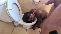 Human toilet indian whore get pissed on and get her head flushed followed by sucking dick