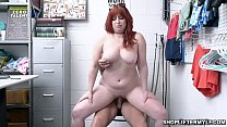Busty redhead MILF shoplifter Amber Dawn got caught so she spreads her MILF pussy and pay for sex with the security officer.