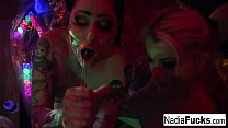Black-light babes Nadia and Ophelia suck off a colorful cock pornhub video