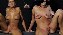 Blonde slut and chubby slave whipped with equal measure