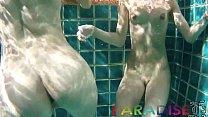 Fox twins swim naked and let boyfriend fuck them underwater
