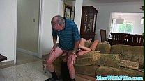 Teen amateur sucking off geriatric