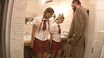 Lucky teacher finds two stunning schoolgirls Mina and Morgan Moon then anally fucks them