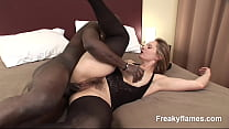 Big black monstercock for hairy amateur milf pussy being spermed on cum on pussy video