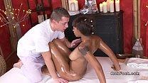 Big dicked masseur bangs black pussy thumbnail