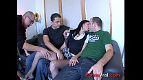 Very hot student fucks 3 guys 1st time !!! French amateur