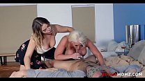 Blindfolded BF fucked by my MOM