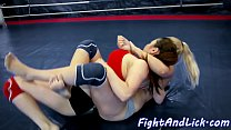 Busty asian fucked by strapon after wrestling thumbnail