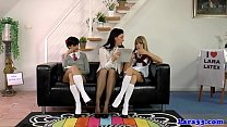 Stockinged milf spanking schoolgirls in trio