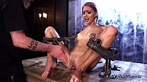 Purple haired slave squirts in bondage thumbnail