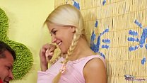 Cute blonde babysitter fuck her boss in his house
